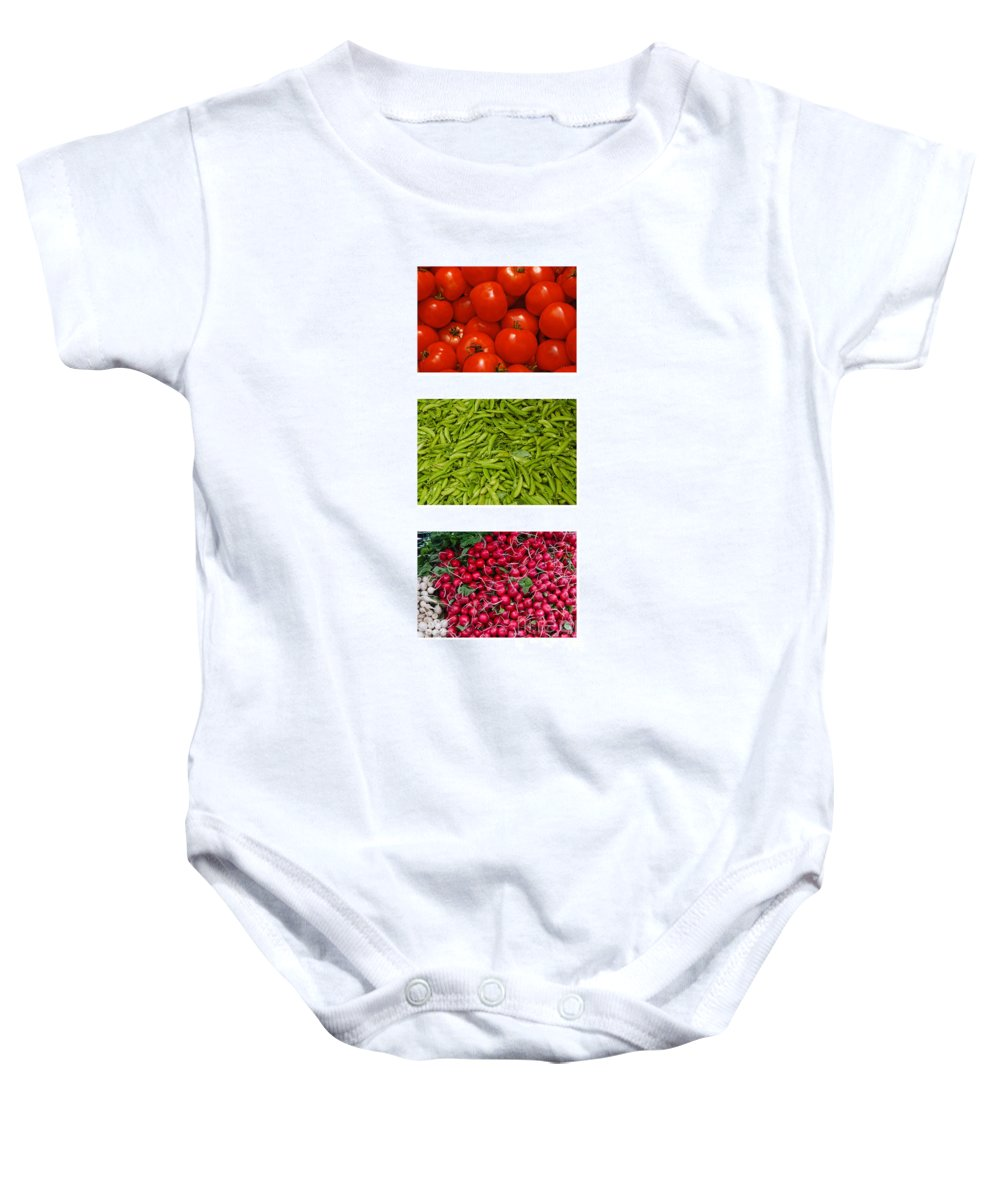 Tomato Baby Onesie featuring the photograph Fresh Vegetable Triptych by Thomas Marchessault