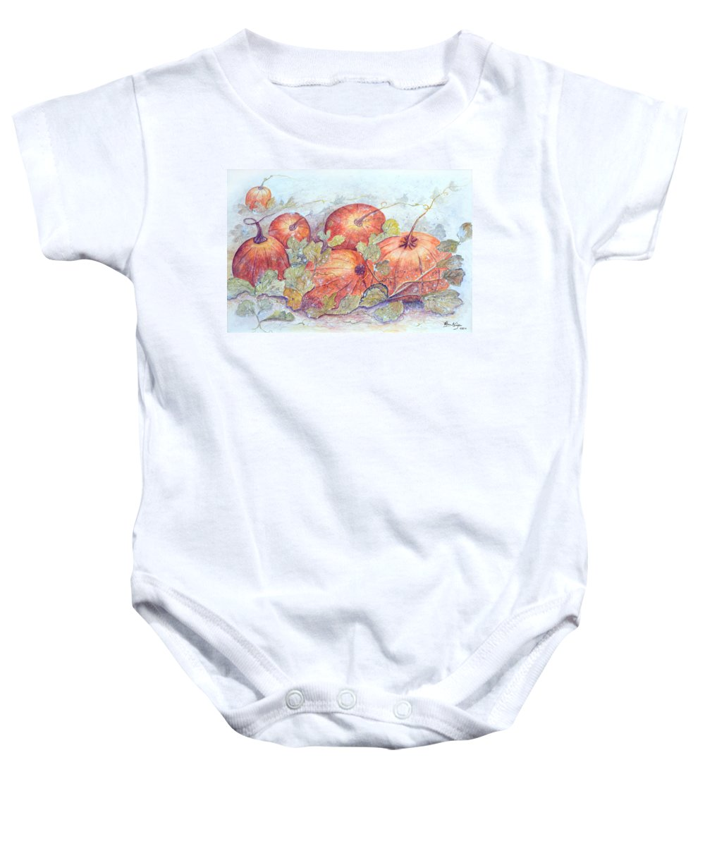 Pumpkin Patch Baby Onesie featuring the painting Frost on the Pumpkin by Ben Kiger