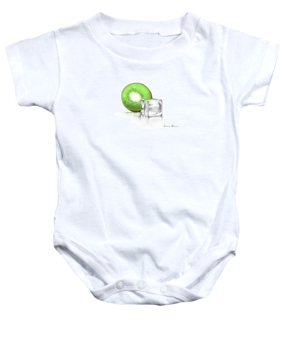 Digital Baby Onesie featuring the painting Frozen Fruit by Veronica Minozzi