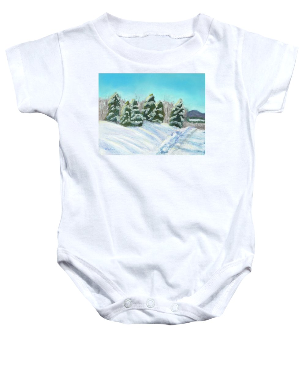 Snow Baby Onesie featuring the painting Frozen Sunshine by Arlene Crafton