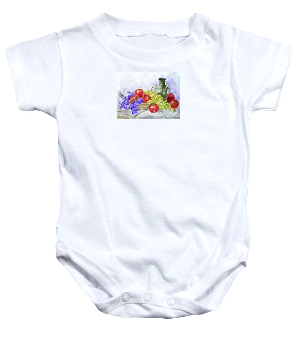 Fruit Baby Onesie featuring the painting Fruit After Him by Jasna Dragun