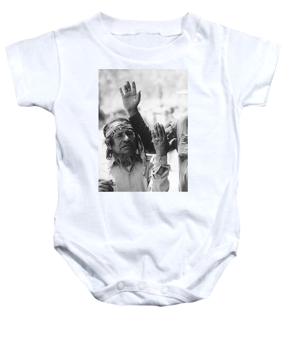 Ft. Apache Homage Ft. Apache Celebration Saluting Apaches Ft. Apache Arizona1970 Black And White Baby Onesie featuring the photograph Ft. Apache Homage 1948 Ft. Apache Celebration Ft. Apache Arizona Saluting Apaches 1970 by David Lee Guss