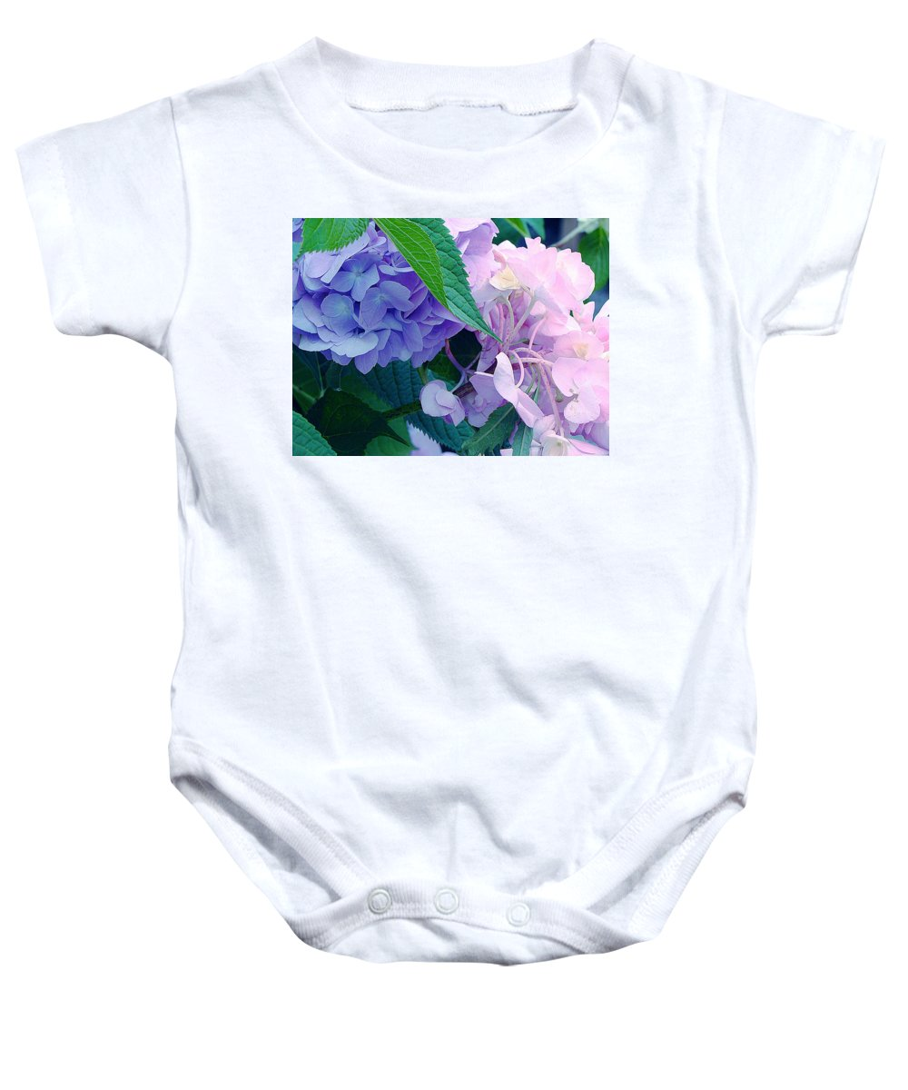 Purple And Pink Hydrangeas Baby Onesie featuring the photograph Full Circle by Ira Shander