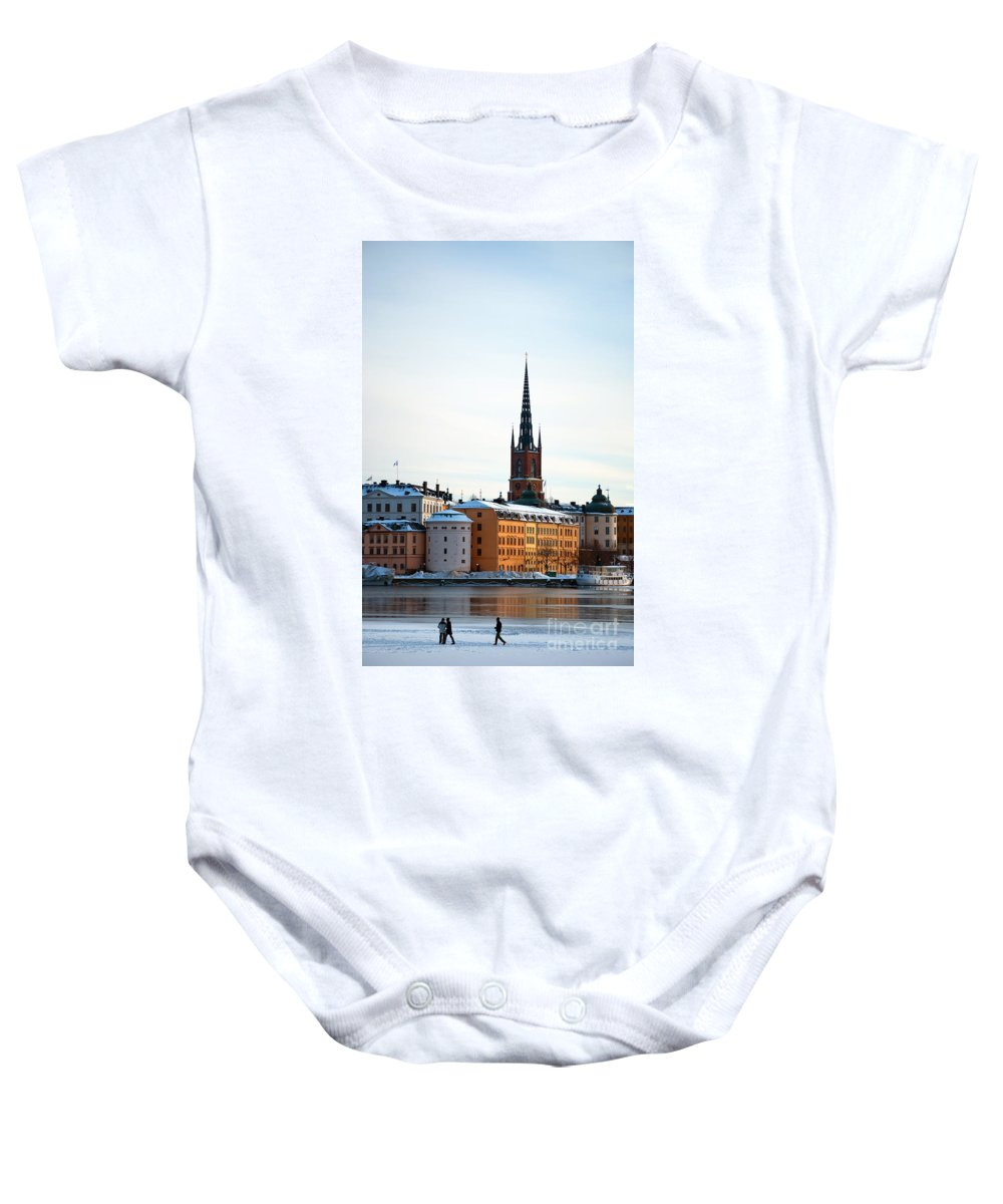 Winter Baby Onesie featuring the photograph Gamla Stan Winter by Antony McAulay