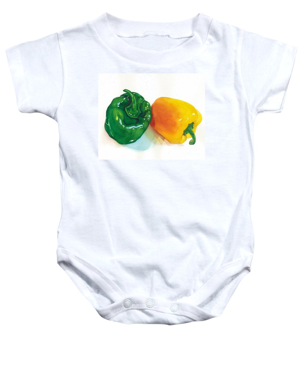 Vegetables Baby Onesie featuring the painting Garden Bells by Barbara Jewell