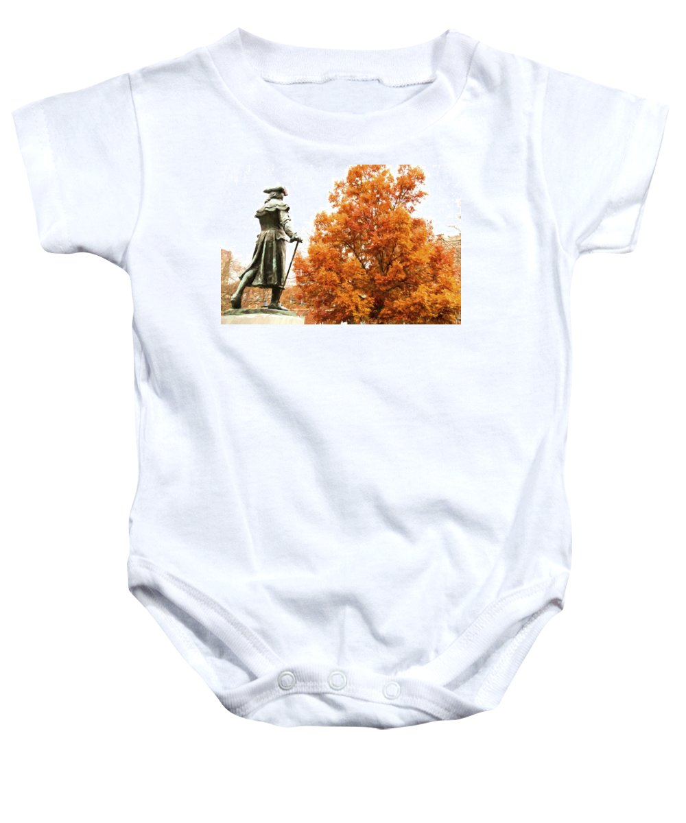 Statue Baby Onesie featuring the photograph General In Fall Splendor by Alice Gipson