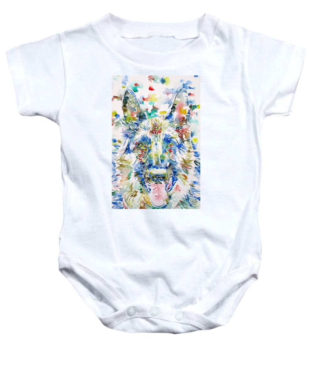 German Baby Onesie featuring the painting German Shepherd - Watercolor Portrait by Fabrizio Cassetta