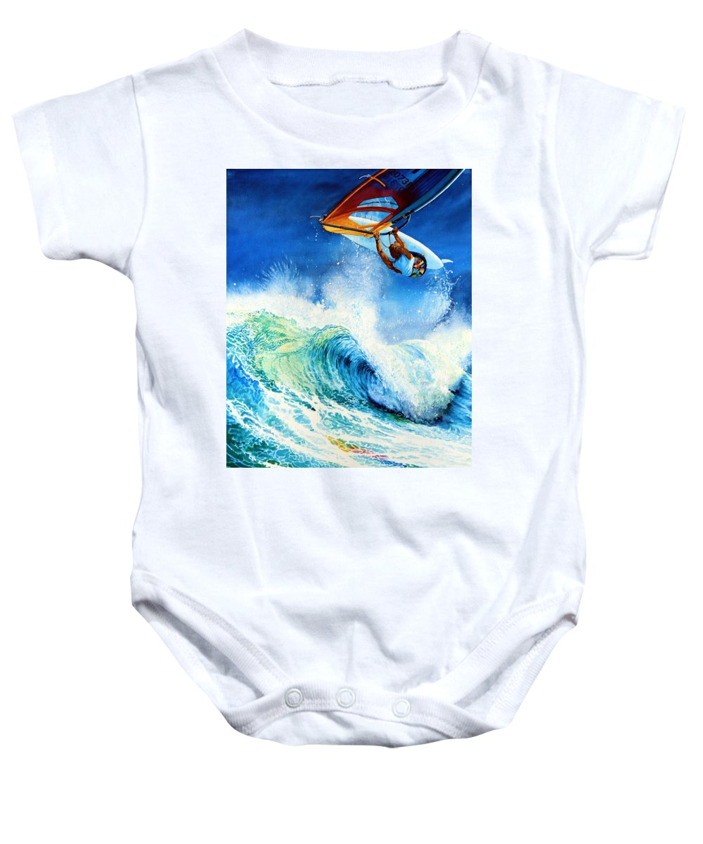 Sports Art Baby Onesie featuring the painting Getting Air by Hanne Lore Koehler