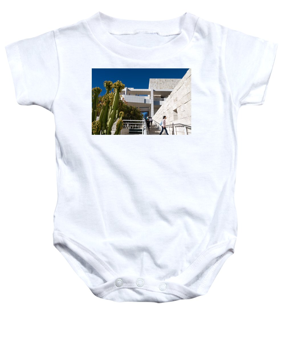 J. Paul Getty Museum Baby Onesie featuring the photograph Getty Museum by Melinda Fawver