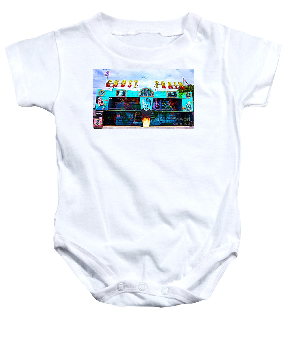 All The Fun Of The Fair Baby Onesie featuring the photograph Ghost Train by Terri Waters