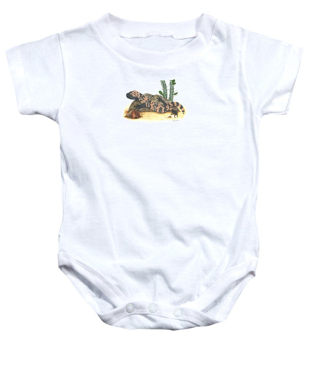 Gila Monster Baby Onesie featuring the painting Gila Monster by Cindy Hitchcock
