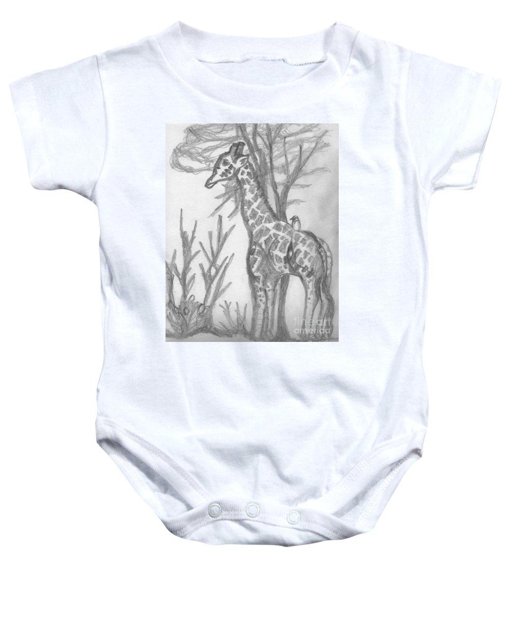 Giraffe Baby Onesie featuring the drawing Giraffe by Mary Mikawoz