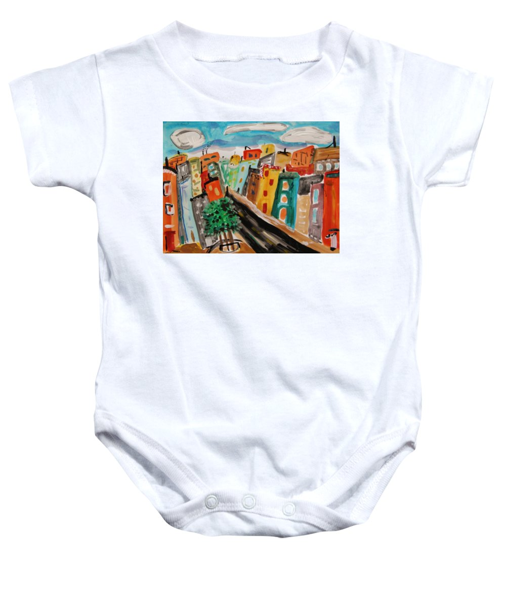 Glass Front Office Building Baby Onesie featuring the painting Glass Front Office Building by Mary Carol Williams