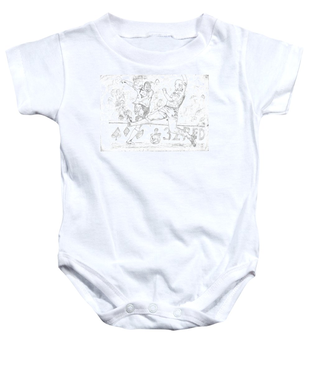 Football Baby Onesie featuring the drawing Goal by Rameshsingh Rajput