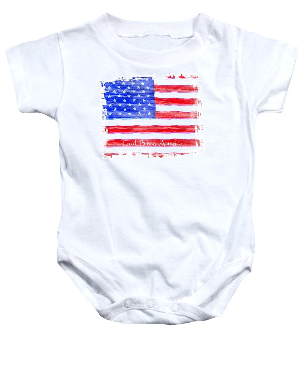 Usa Baby Onesie featuring the photograph God Bless America by Robert ONeil