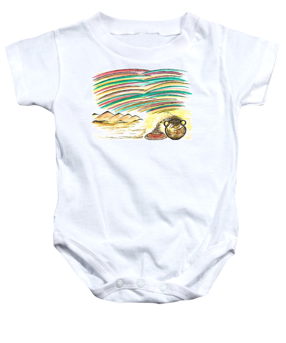Teresa White Baby Onesie featuring the painting Gold Coins At The End Of Rainbows by Teresa White