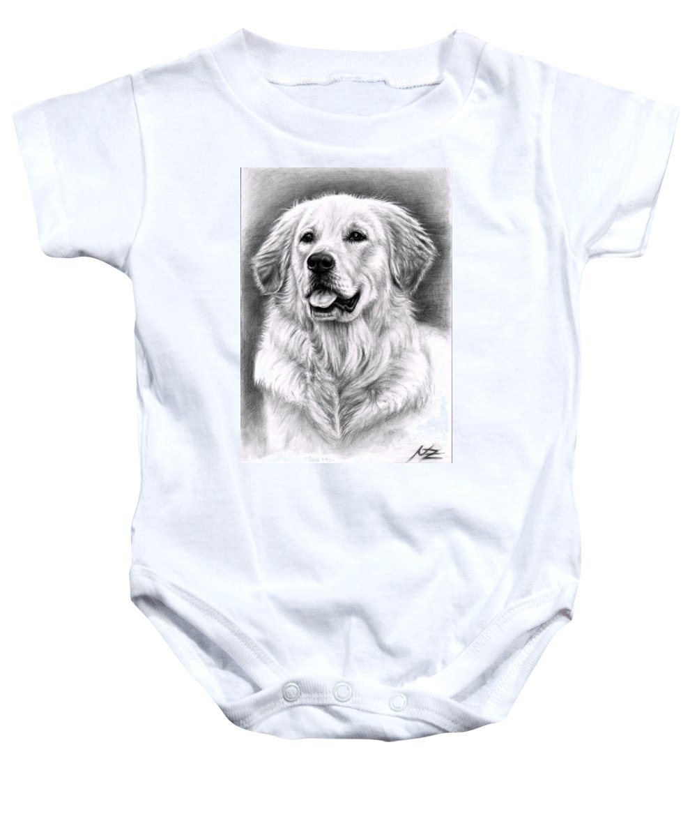 Dog Baby Onesie featuring the drawing Golden Retriever Spence by Nicole Zeug