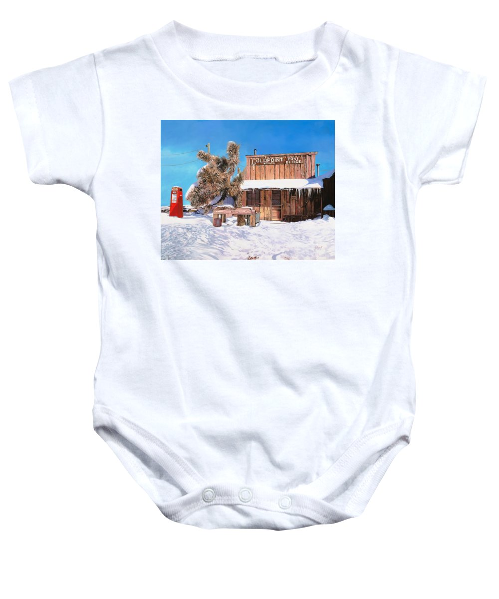 Gold Baby Onesie featuring the painting Goldpoint-nevada by Guido Borelli