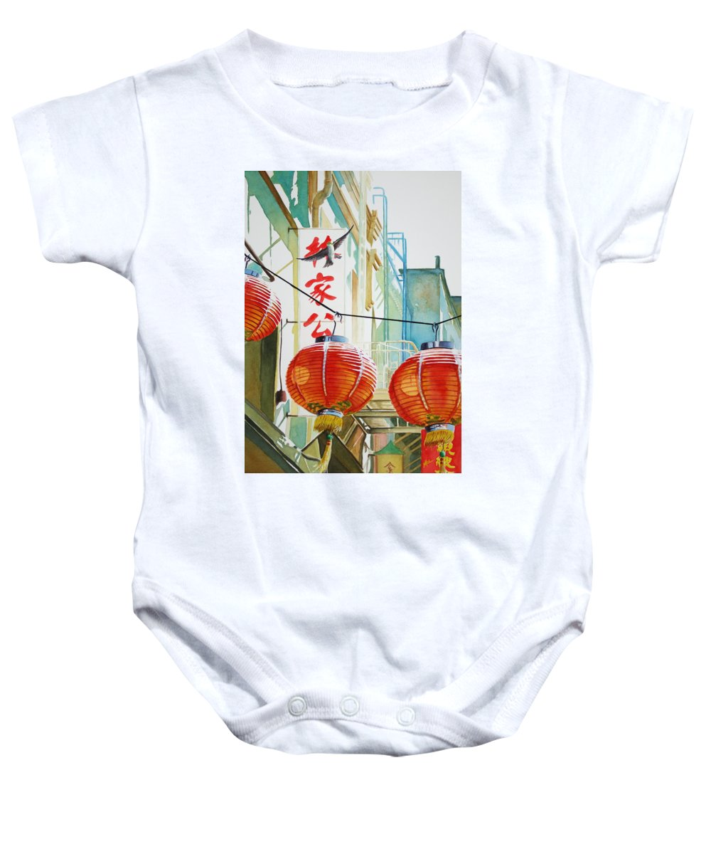 Chinatown Baby Onesie featuring the painting Good News In Chinatown by Greg and Linda Halom