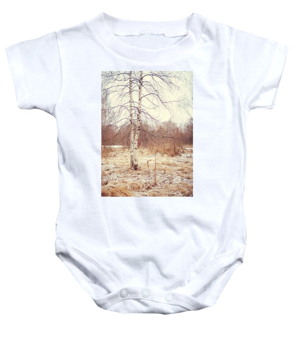 Winter Baby Onesie featuring the photograph Grace In The Snow. Winter Poems by Jenny Rainbow