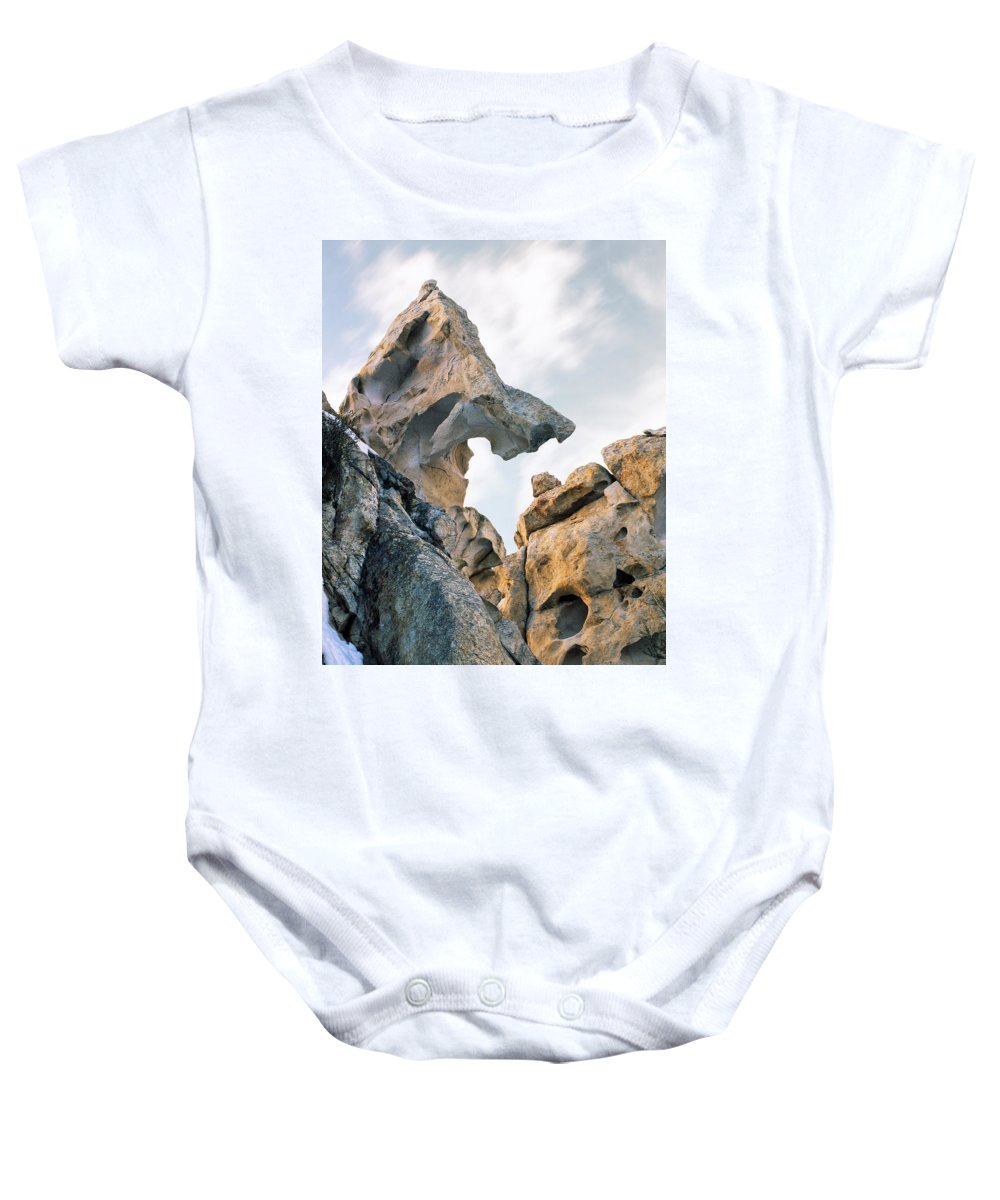 City Of The Rocks Baby Onesie featuring the photograph Granite Texture by Leland D Howard