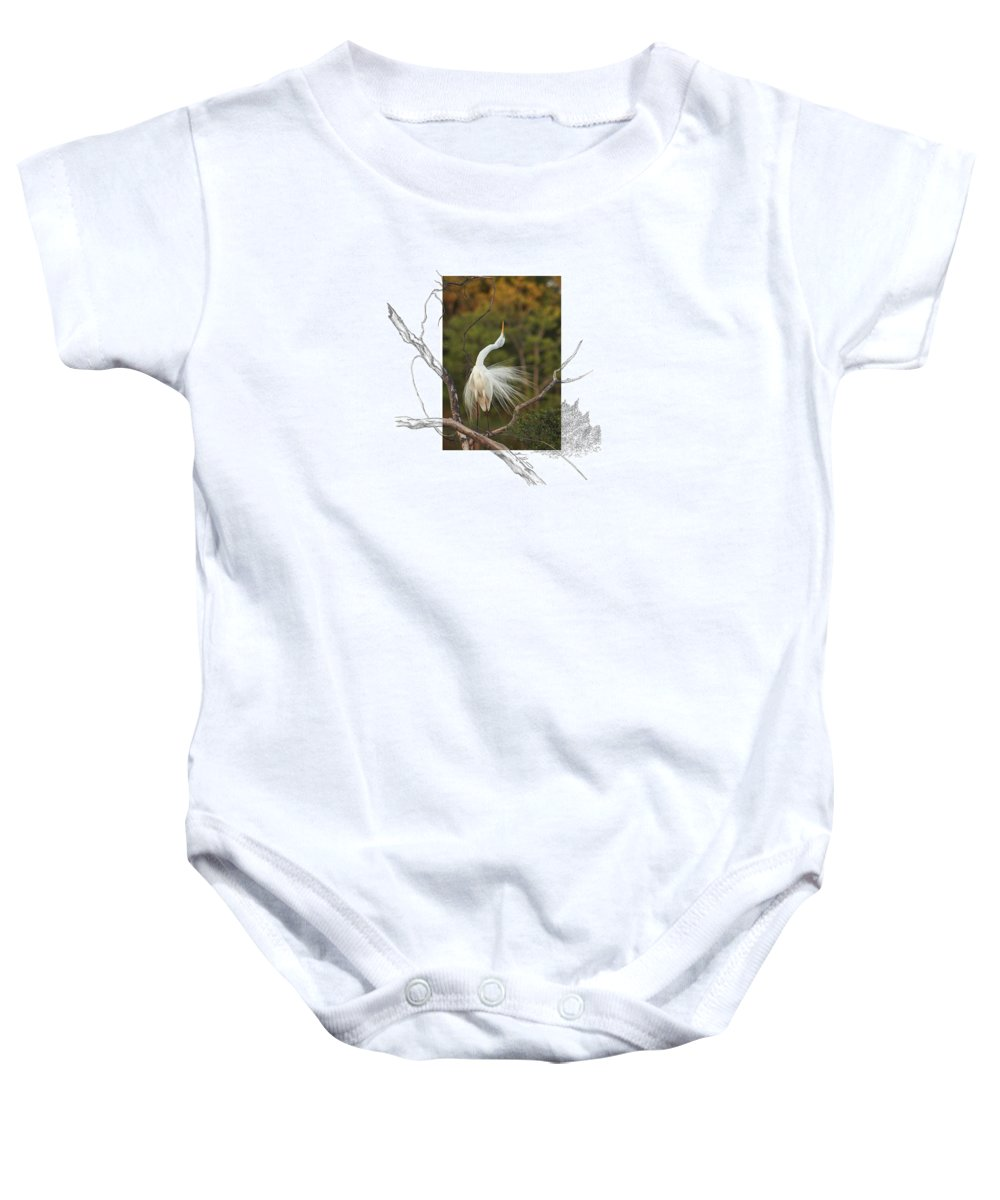 Great Egret Baby Onesie featuring the photograph Great Egret - Stretch by Andrew McInnes