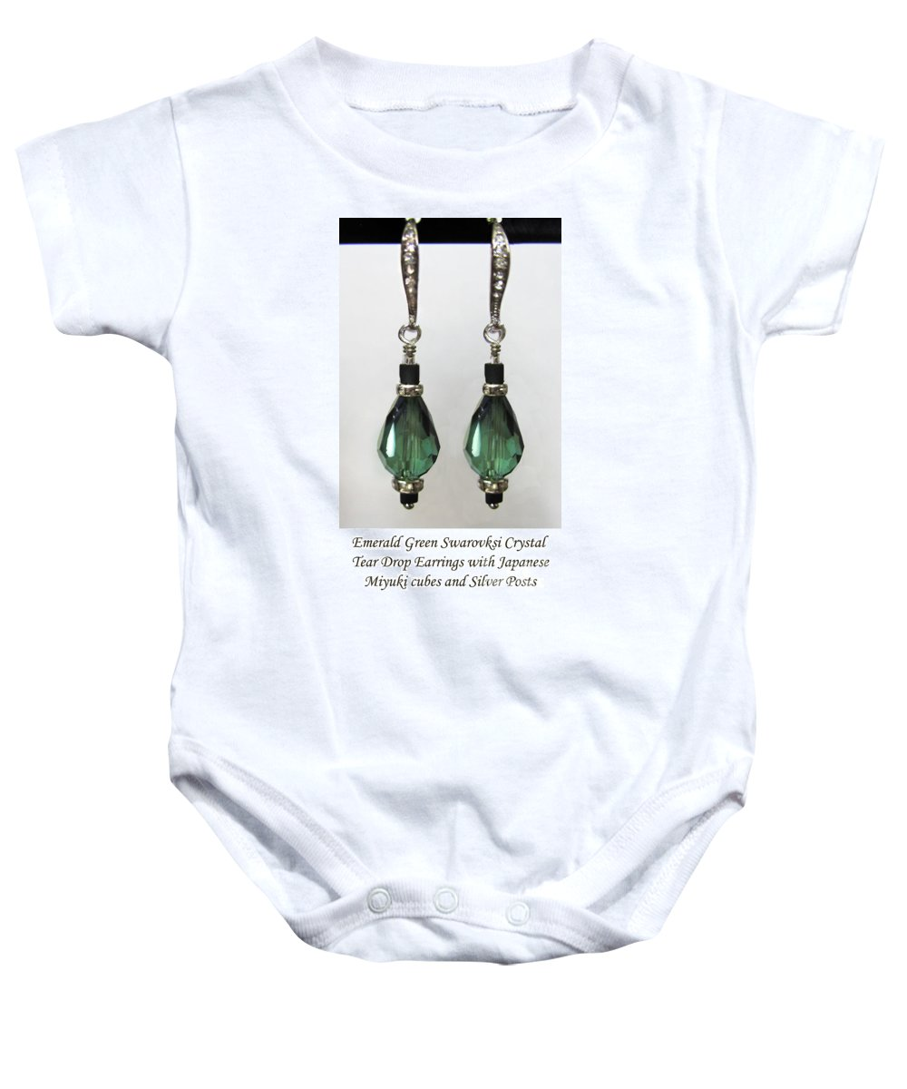 Green Baby Onesie featuring the photograph Green Tear Drop by Jennie Breeze