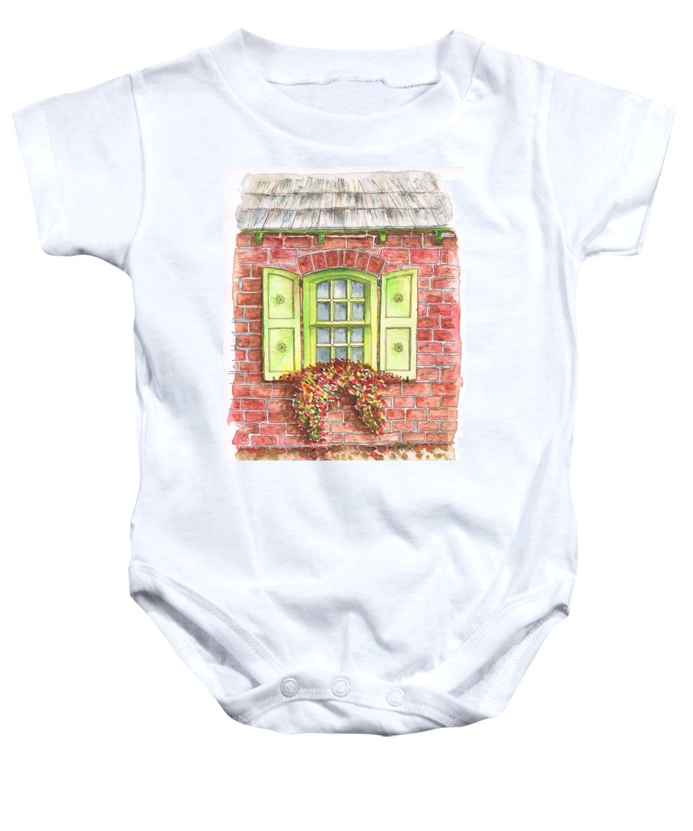 Watercolor Baby Onesie featuring the painting Green Window by Carlos G Groppa