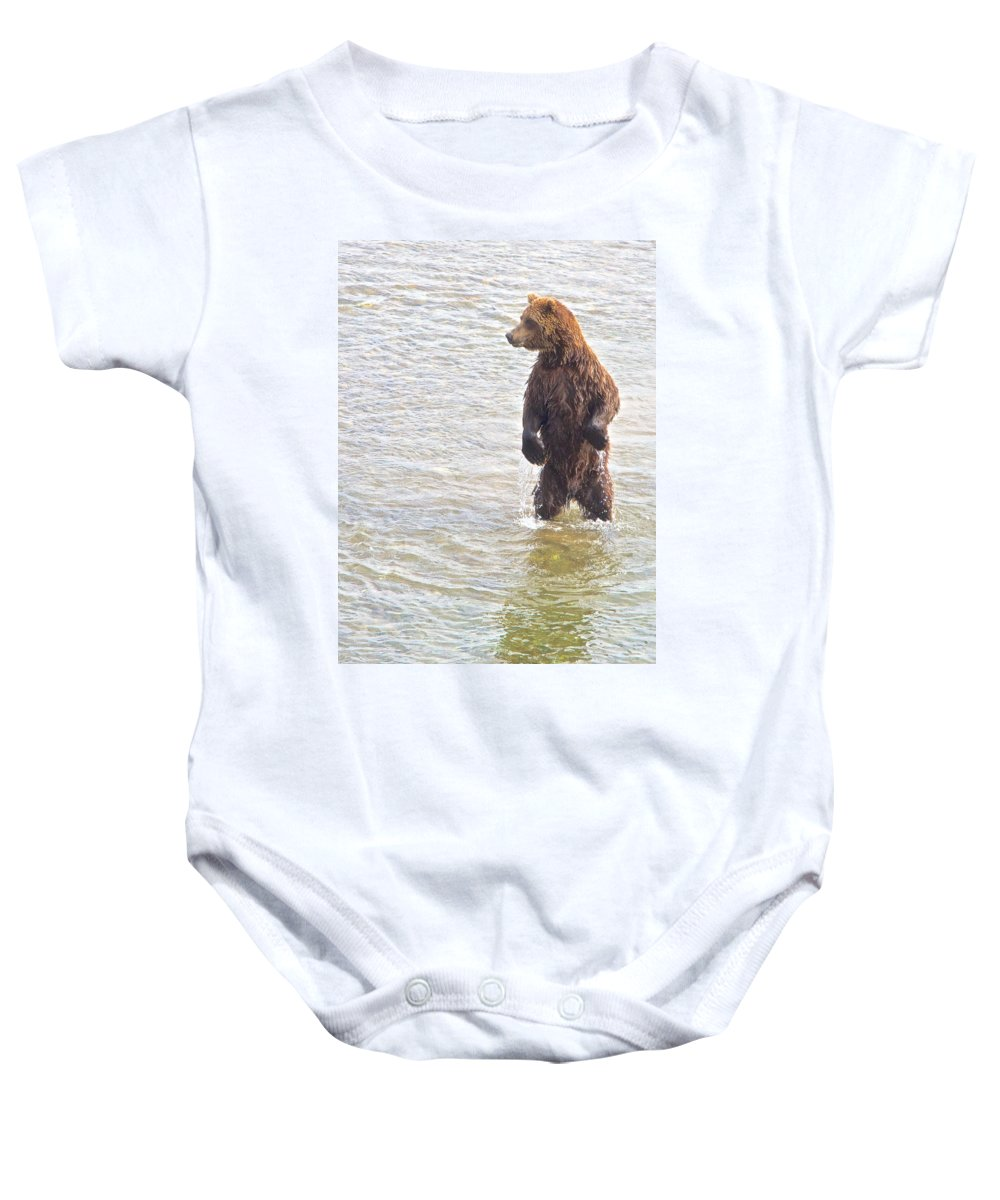 Grizzly Bear Standing To Get A Better Look Baby Onesie featuring the photograph Grizzly Bear Standing To Get A Better Look In The Moraine River In Katmai by Ruth Hager