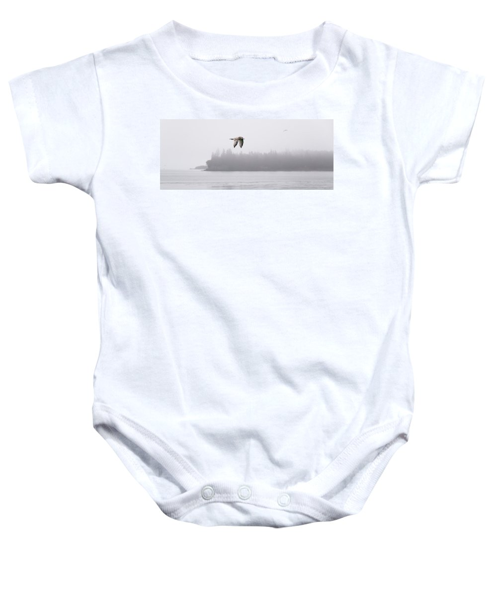 Gull Baby Onesie featuring the photograph Gull In Flight by Marty Saccone