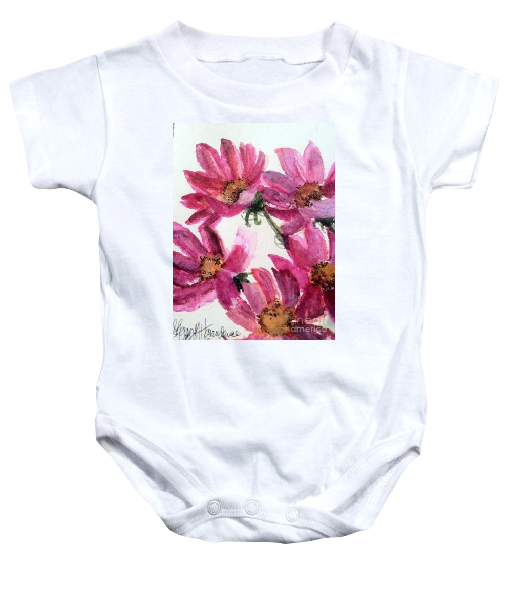 Orchards Baby Onesie featuring the painting Gull Lake's Flowers by Sherry Harradence