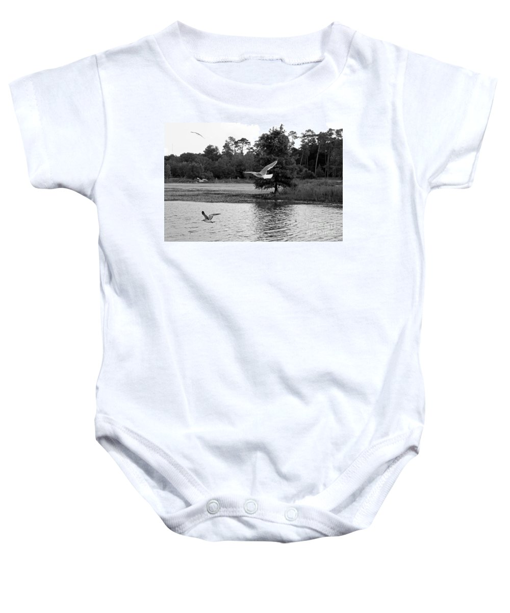 Seascape Baby Onesie featuring the photograph Gulls In Flight Mb083bw by Earl Johnson