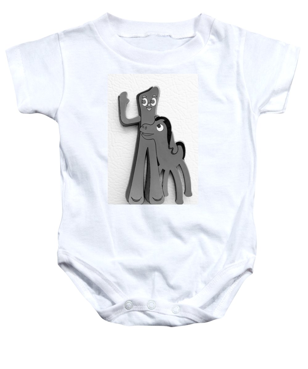 Gumby Baby Onesie featuring the photograph GUMBY AND POKEY B F F in BLACK AND WHITE by Rob Hans
