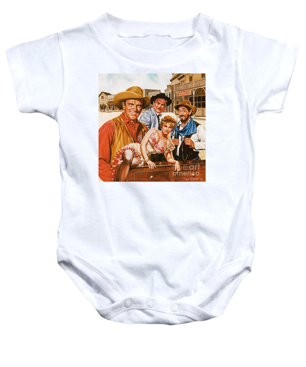 Portrait Baby Onesie featuring the painting Gunsmoke by Dick Bobnick