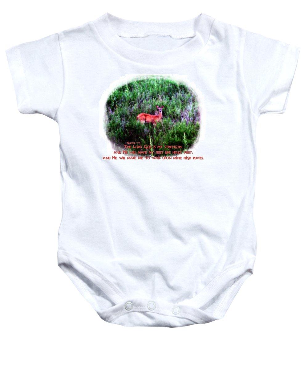 Jesus Baby Onesie featuring the digital art Habakkuk 3 19 by Michelle Greene Wheeler