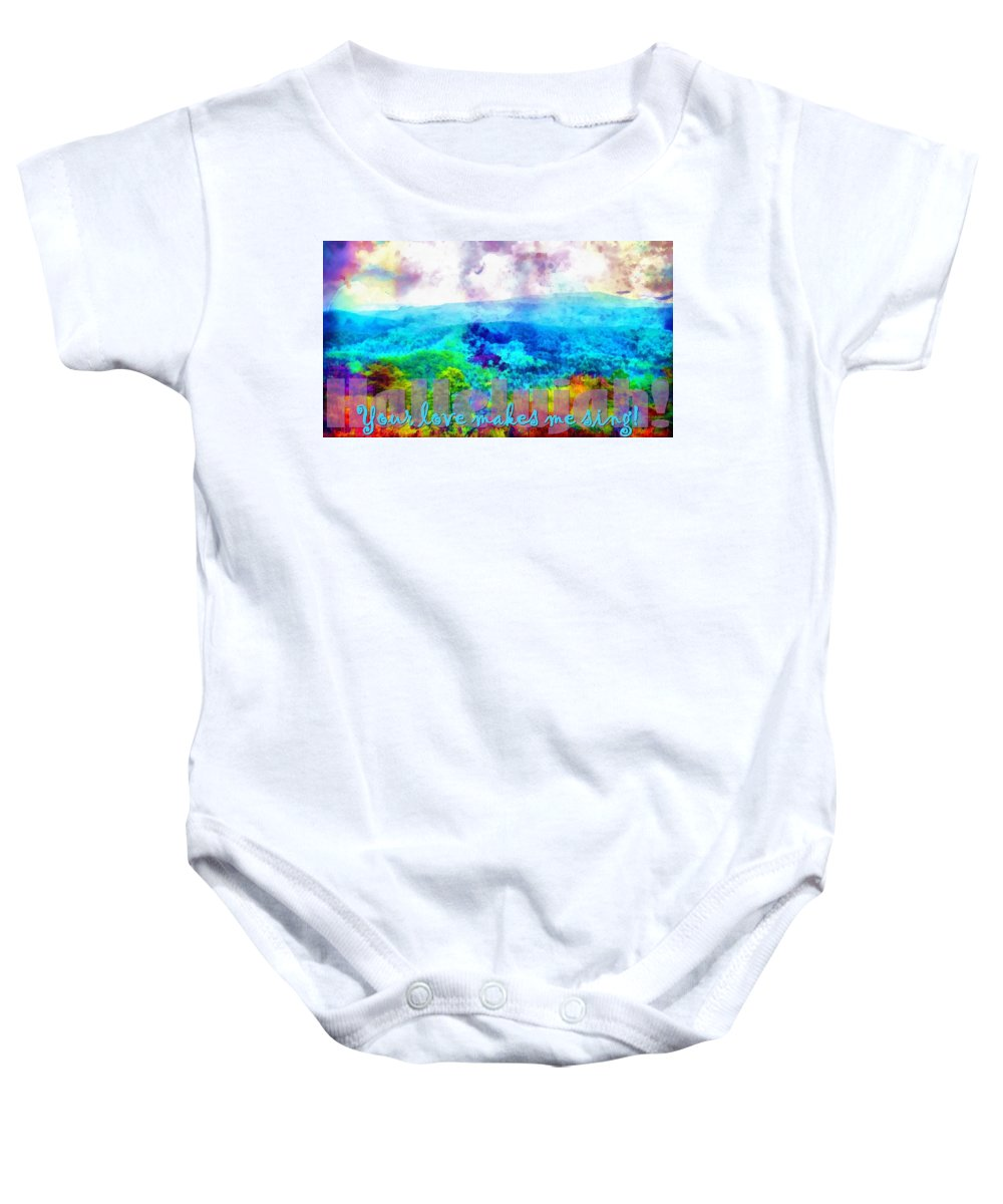 Jesus Baby Onesie featuring the digital art Hallelujah by Michelle Greene Wheeler