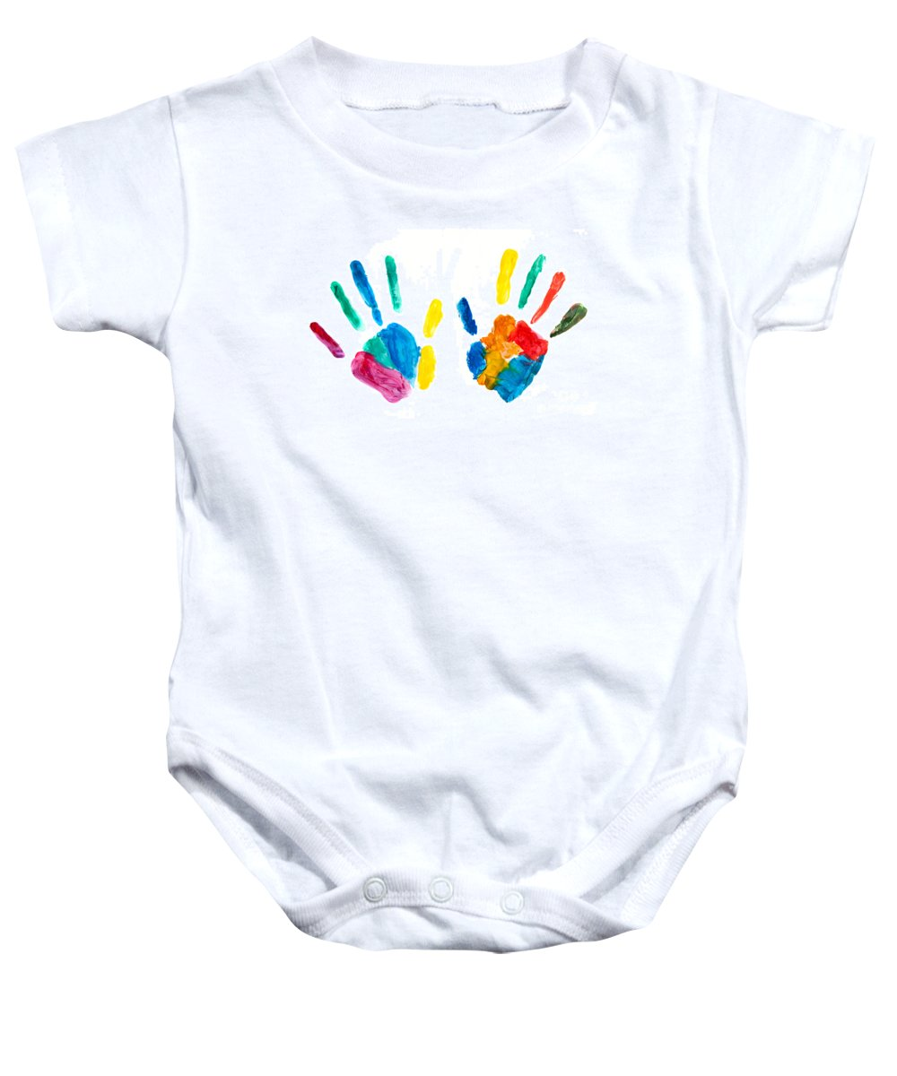 Hand Baby Onesie featuring the photograph Hands Painted Stamped On Paper by Michal Bednarek
