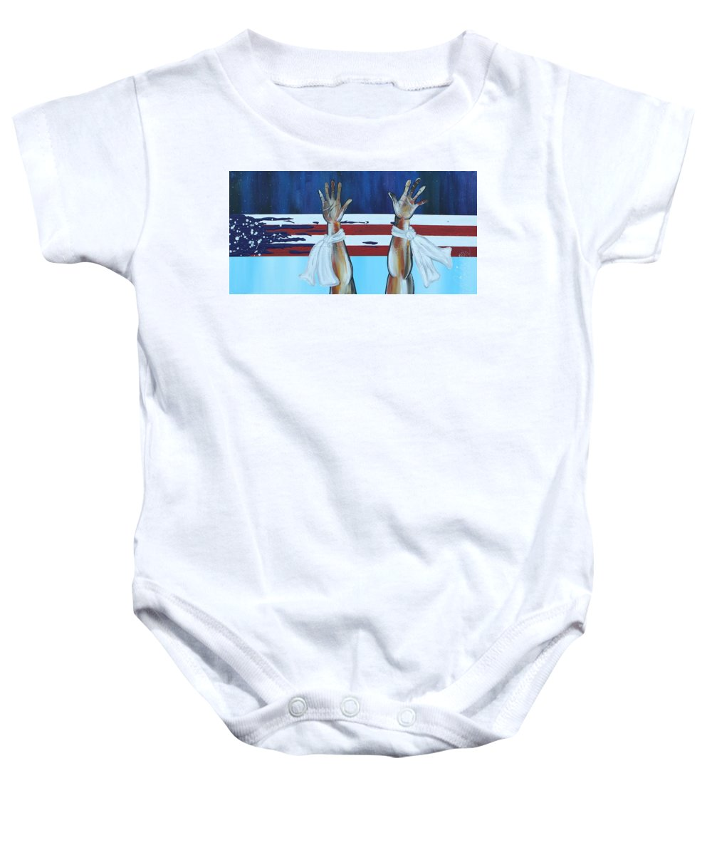 Aliya Michelle Baby Onesie featuring the painting Hands Up Dont Shoot by Aliya Michelle