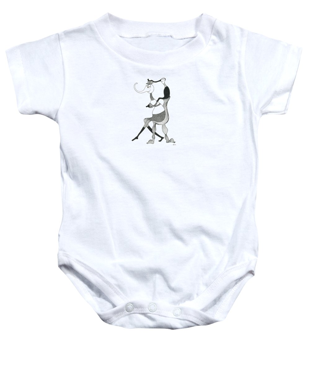 Genia Baby Onesie featuring the drawing Happy Baby Trunk by Genia GgXpress