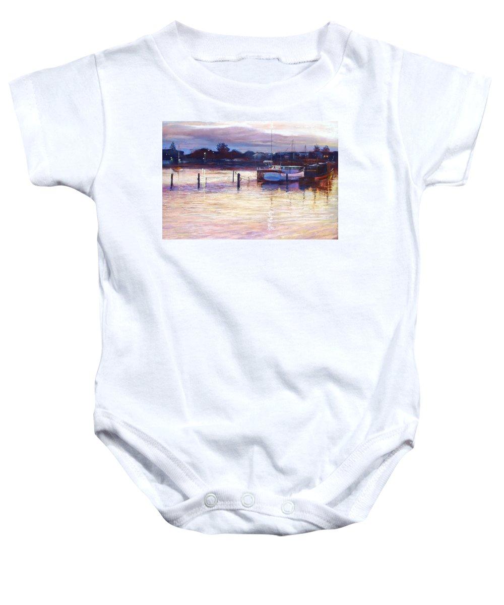 Lynda Robinson Baby Onesie featuring the pastel Harbour Lights - Apollo Bay by Lynda Robinson