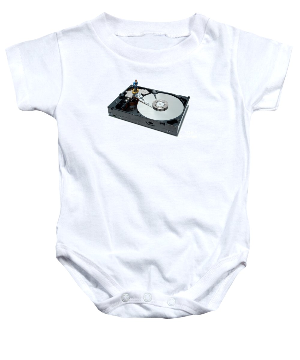 Computer Baby Onesie featuring the photograph Hard Drive Backup by Olivier Le Queinec