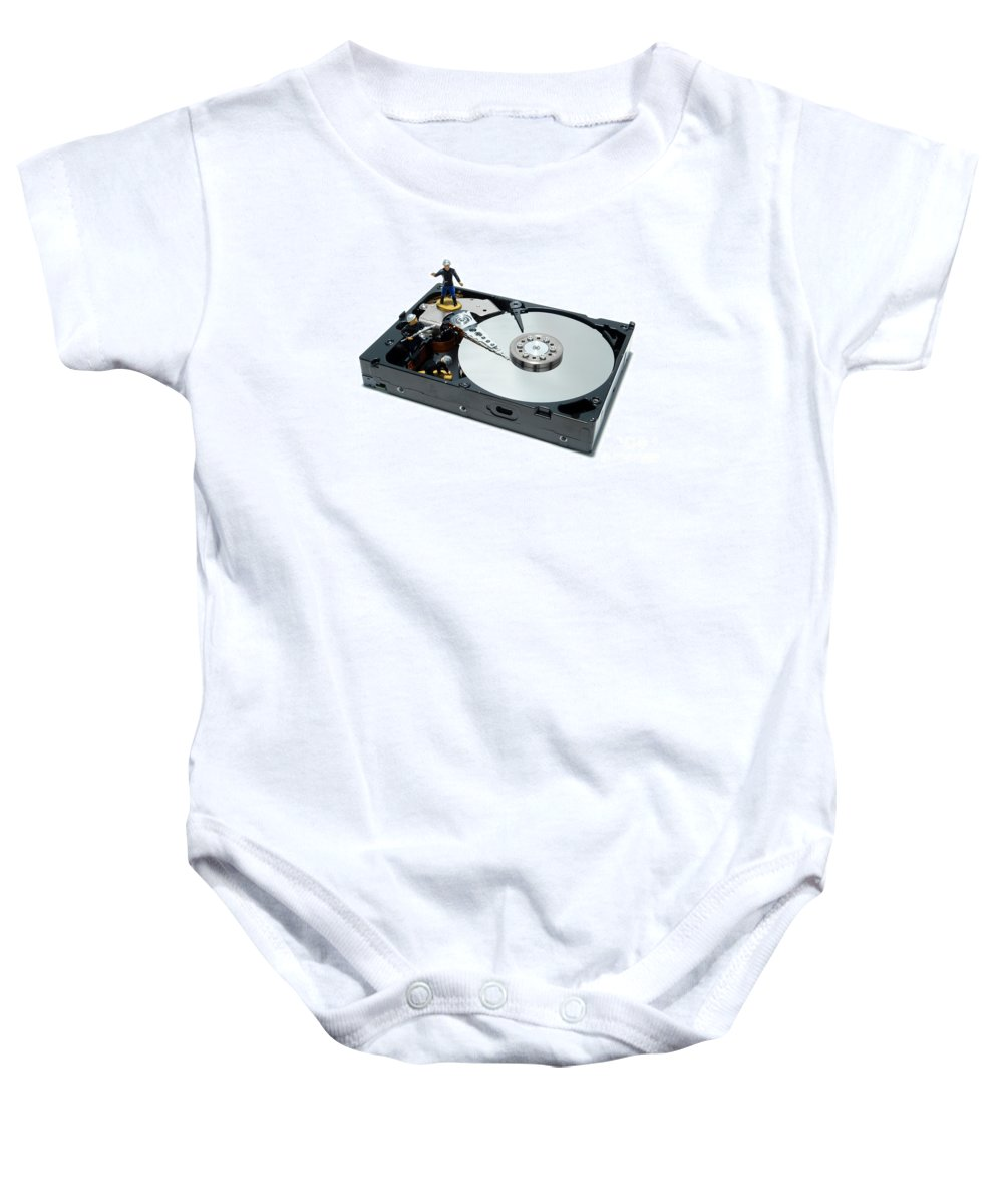 Computer Baby Onesie featuring the photograph Hard Drive Firewall by Olivier Le Queinec