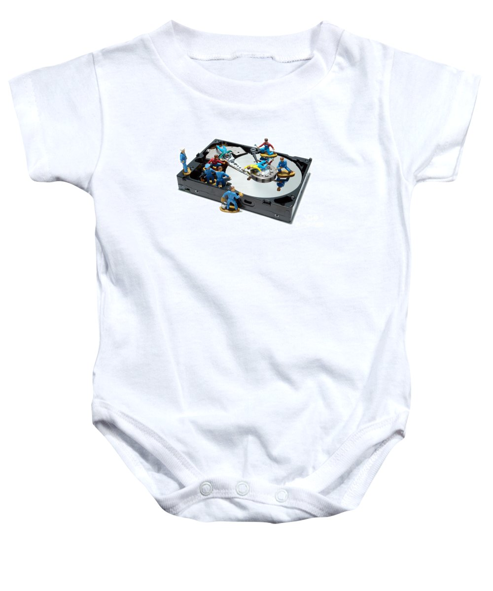 Computer Baby Onesie featuring the photograph Hard Drive Maintenance by Olivier Le Queinec