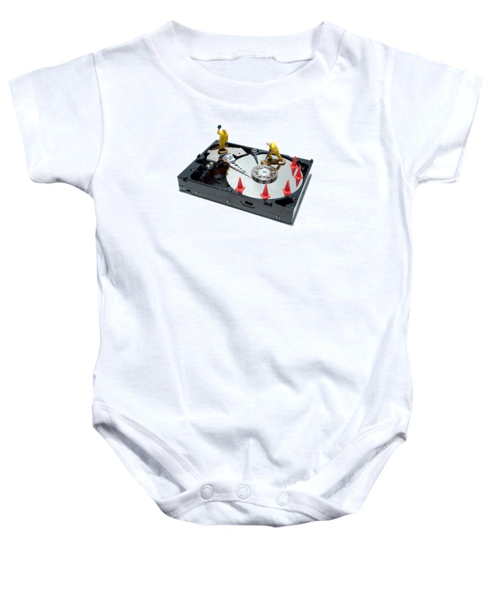 Computer Baby Onesie featuring the photograph Hard Drive Repair by Olivier Le Queinec