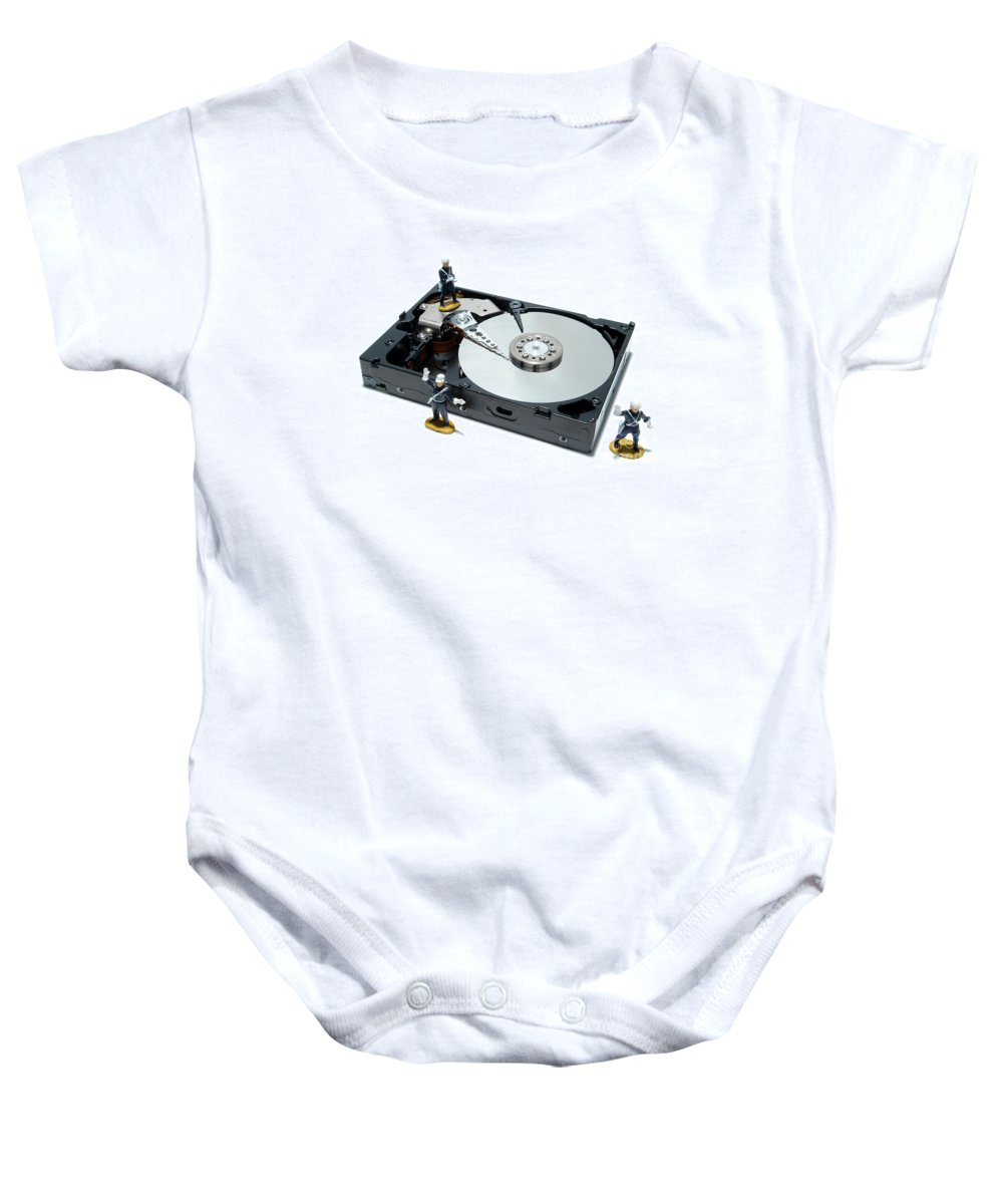Computer Baby Onesie featuring the photograph Hard Drive Security by Olivier Le Queinec