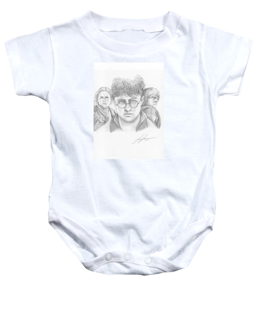 Harry Potter Baby Onesie featuring the drawing Harry And Friends by Lance James