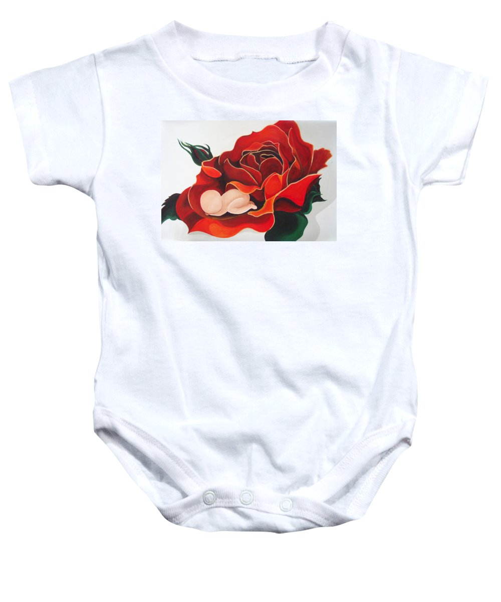 Healing Painting Baby Onesie featuring the painting Healing Painting Baby Sleeping In A Rose by Catt Kyriacou