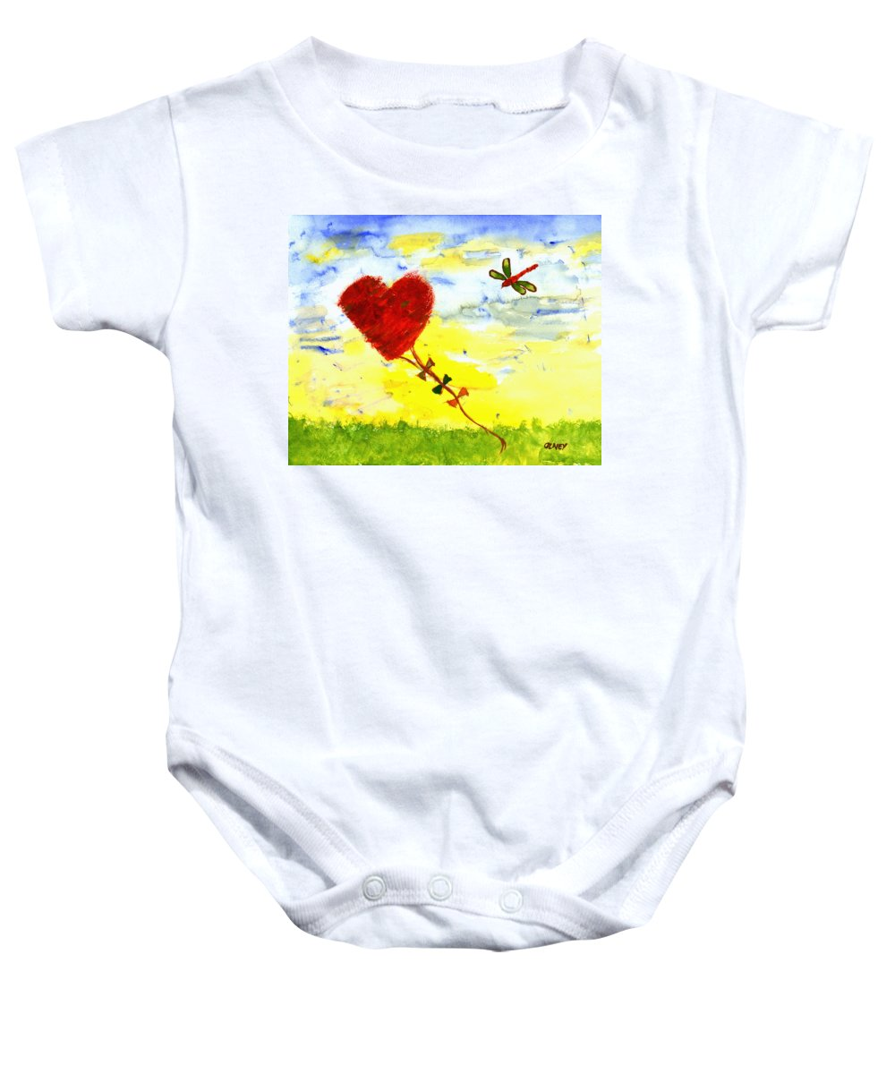 Heart Baby Onesie featuring the painting Heart Kite by Carolyn Olney