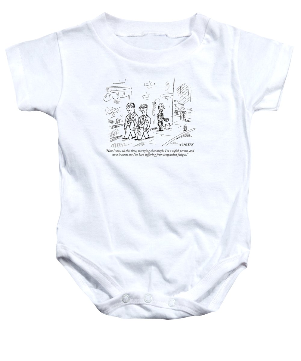 Selfish Baby Onesie featuring the drawing Here I Was, All This Time, Worrying That Maybe by David Sipress