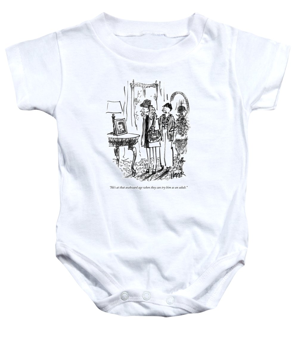Teen-agers Baby Onesie featuring the drawing He's At That Awkward Age When They Can Try by Robert Weber